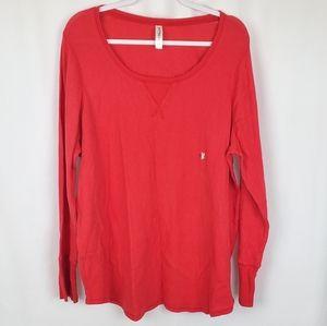 Cacique Red Waffle Knit Thermal Pajama Shirt